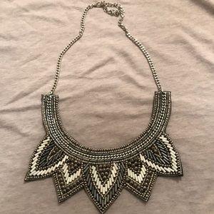Beaded statement necklace; felt backing
